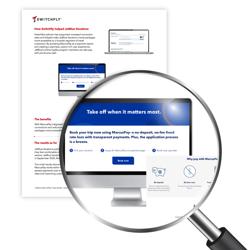 Magnifying glass zoomed in view of Switchfly's Jet Blue MarcusPay Case Study which explains how new payment methods can increase conversions