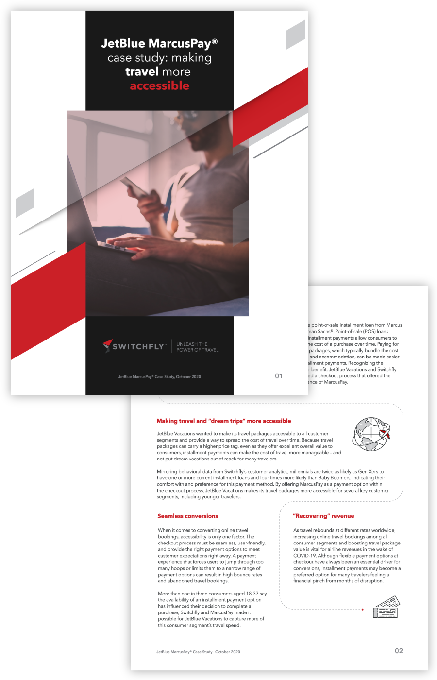 Case study pages explaining how Switchfly helped JetBlue Vacations make travel more accessible through flexible payments with MarcusPay